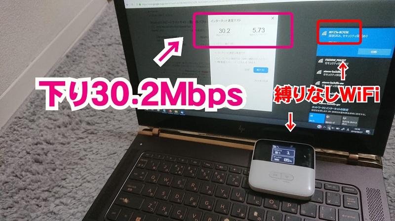 下北沢の事務所、縛りなしWiFiの通信速度下り30Mbps