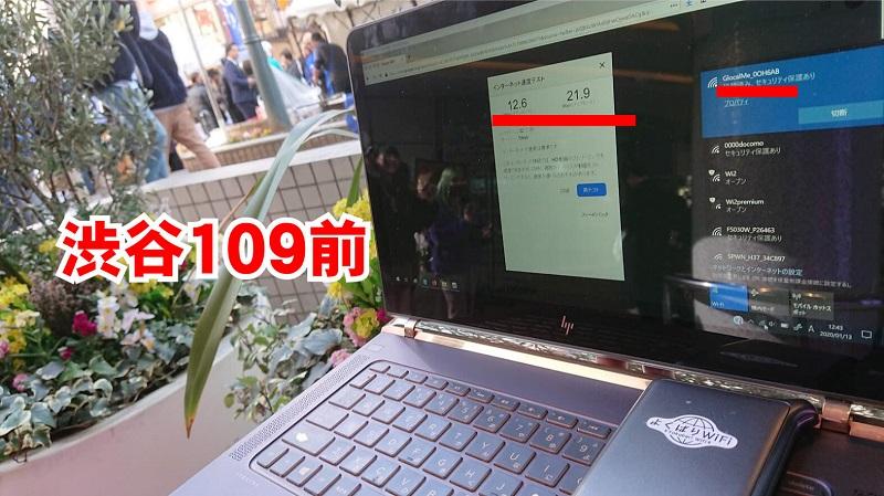 渋谷109前_よくばりWiFi通信速度