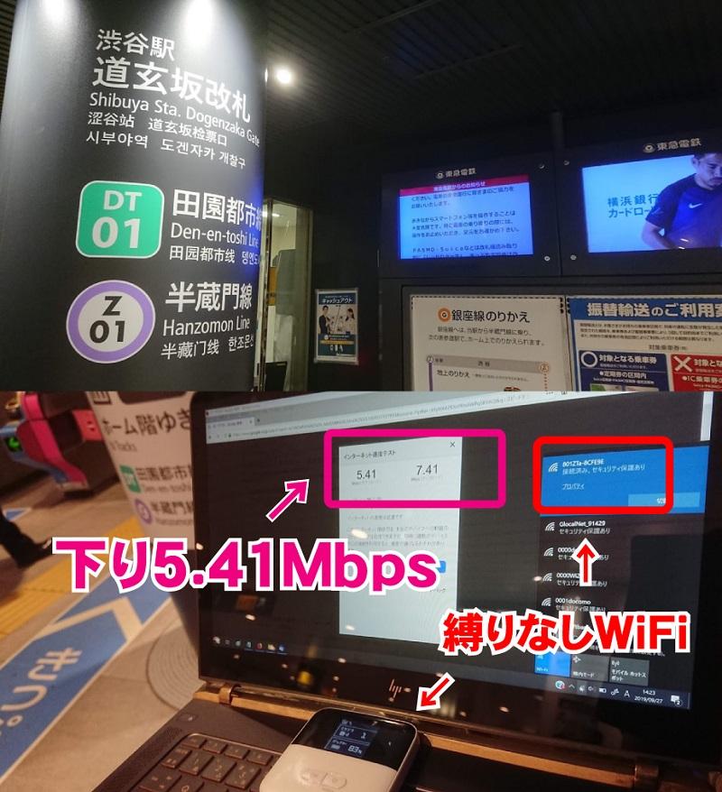 東京メトロ「渋谷道玄坂改札」縛りなしWiFi通信速度